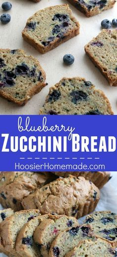 Blueberry Zucchini Bread Recipe - this delicious, moist bread is a MUST make! SHH...don't tell the kids it has veggies in it though, they will never know! The Zucchini and Blueberries make a double punch of flavor with all the great nutrients for you! Cli
