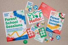 Forest School by Spy Logo, visual identity, posters and stickers designed by Spy for Hackney Forest SchoolLogo, visual identity, posters and stickers designed by Spy for Hackney Forest School Corporate Design, Corporate Branding, Logo Branding, Logos, Identity Design, Logo Design, Graphic Design Typography, Visual Identity, Kids Graphic Design