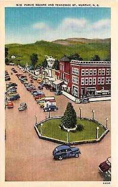 Murphy North Carolina NC 1940s Public Square Tennessee Street Vintage Postcard