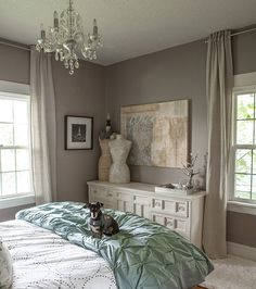 west elm bedroom gray grey calm cozy lia griffith pintuck duvet headboard tufted master bedroom suite