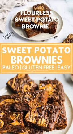 Paleo Sweet Potato Brownie This is the ONE best healthy fudge brownie you NEED. There is NO sugar, flour or butter in this dairy-free, gluten-free, paleo sweet potato brownie recipe! Dessert Sans Gluten, Paleo Dessert, Healthy Dessert Recipes, Gluten Free Desserts, Dairy Free Recipes, Best Gluten Free Brownies Recipe, Paleo Zucchini Recipes, Paleo Desert Recipes, Gluten Free Crisps