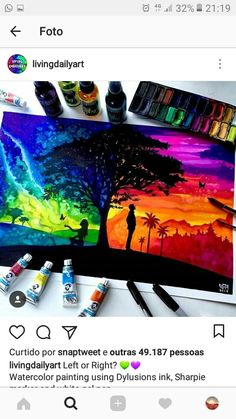How to draw a Scenery with oil pastels step by step for beginners, Two different sides of world - Trend Topic For You 2020 Galaxy Painting, Galaxy Art, Beautiful Drawings, Cool Drawings, Ipad Kunst, Soft Pastel Art, Creative Artwork, Watercolor Artwork, Cool Paintings