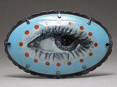Jessica Calderwood - 'Portrait of an Eye' Brooch/Pendant -- Enamel on copper, sterling, stainless steel, modern lover's eye brooch Eye Jewelry, Enamel Jewelry, Jewelry Art, Jewelery, Jewelry Design, Le Grand Bleu, Lovers Eyes, Vitreous Enamel, Mourning Jewelry
