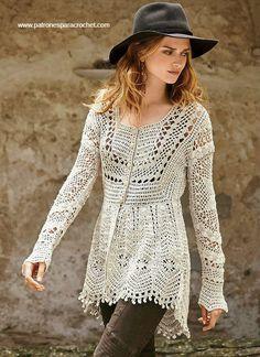 Chaqueta crochet estilo vintage de frente