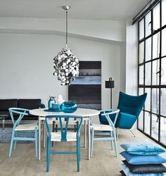 Blue Wishbone Chairs by decor8, via Flickr