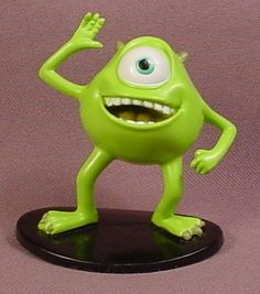 Disney Monsters Inc Mike Wazowski PVC Figure On Oval Black Base, 2 1/2 Inches Tall