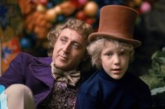 Behind the scenes: Peter Ostrum who played Charlie borrowed Wonka's hat with Gene Wilder while the cameras weren't rolling.