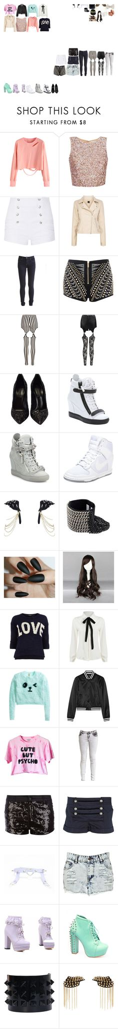 """Packing for Hogwarts"" by kaelighofficial ❤ liked on Polyvore featuring Pierre Balmain, Oasis, Vila Milano, Boohoo, Casadei, Giuseppe Zanotti, NIKE, River Island, Michelle Roy and adidas"