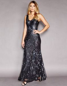 Little Black Dress Long Embellished Evening Dress