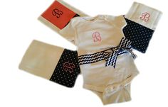 Personalized Baby girl onesie and burp cloth by PreciousBabyAttire