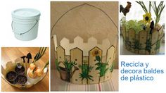 Ideas de manualidades para reciclar y decorar baldes de plástico ~ lodijoella