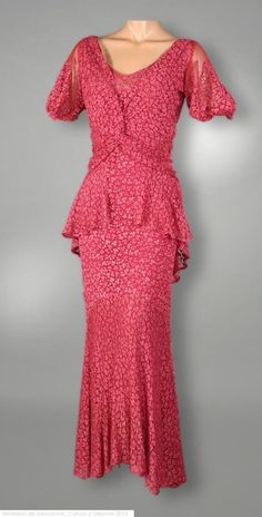 Dress, M. Max: 1920, rayon, cotton, silk, tulle, lace, mechanical lace. Search for CE021914A
