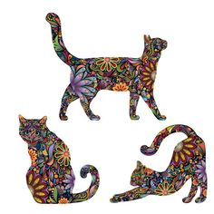 My Wonderful Walls 3 Piece Repositionable Cat Sticker Wall Decal Size: Extra Small Wall Stickers Cats, Face Stickers, Wall Decals, Vinyl Decals, Frida Art, Arte Tribal, Cat Quilt, Cat Wall, Cat Sitting