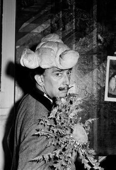 'Salvador Dali with bread shaped hat on his head - Spain' by unknown photographer, 1958