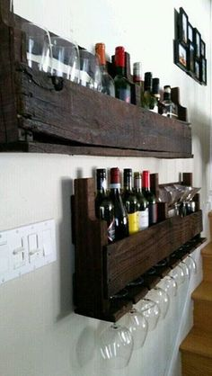 Rustic Pallet Wine Rack and Shelf $105 — Waterloo, Ontario Rustic Custom made Pallet Wine Rack and Shelf with Red Mahogany Stain. Available Now. Or buy separately. Wine rack $80 Shelf $45 For more items check out our facebook page! https://m.facebook.com/AGR-Custom-Woodworking-and-Installa…/