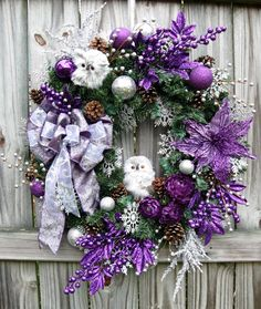 Purple and Silver Baby Owls Christmas Wreath, by IrishGirlsWreaths, $129.99
