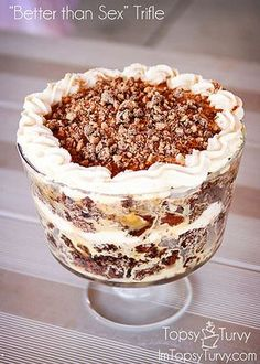 trifle desserts this quot;better than sexquot; trifle is a delicious make ahead dessert that everyone loves Sweet Recipes, Real Food Recipes, Cooking Recipes, Yummy Food, Pasta Recipes, Crockpot Recipes, Soup Recipes, Vegetarian Recipes, Chicken Recipes