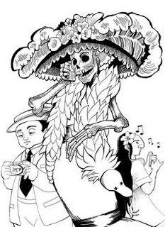 El Mundo Seredipity Catrinas Para Bordar O Colorear Coloring Page Catrinas Dibujo Dibujos Obras De Arte Mexicano