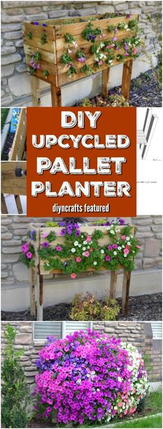This Gorgeous DIY Recycled Pallet Planter Erupts With Color - Video tutorial!! Probably the cheapest and most decorative planter you'll find! <3 via @vanessacrafting