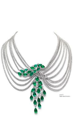 Farah Khan Zambian Emerald Multi-Layered Necklace.