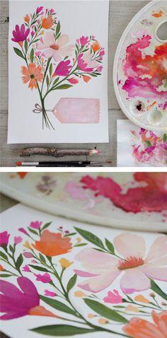 Beautiful watercolour floral heart by PRINTSPIRING  Inspirational IG: @printspiring