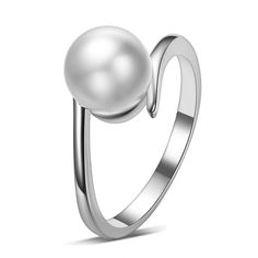 New 2016 Arrival Fashion Imitation Shell Pearl 925 Sterling Silver Women's Finger Wedding Rings Jewelry Gift Wholesale