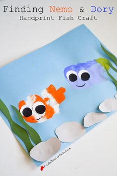 Fun Handprint Art Activities for Kids. Finding Nemo and Dory. DIY craft and keepsake ideas. The Flying Couponer.