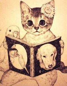 (via Higuchi Yuko Japanese Artwork, Hippie Art, Cat Drawing, Artist Art, Crazy Cats, Love Art, Cat Art, Art Forms, Illustrations Posters