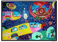 Space Flight - grader, girl, 9 years old. Poster colors on drawing paper. Kids Art Class, Art Lessons For Kids, Art For Kids, Painting Lessons, Painting For Kids, Drawing For Kids, Winter Art Projects, Cool Art Projects, Space Theme Classroom
