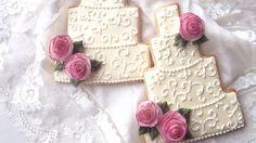 Wedding Cake Cookies With Edible Wafer Paper Roses! @ SweetAmbsCookies https://www.youtube.com/watch?v=C67sZDDSz4Q