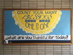 Gratitude Bulletin Board, Thankfulness Bulletin Board. I created this at our school for students to share the reasons they are thankful. K. Morgan Bulletin Board Sayings, Catholic Bulletin Boards, Kindness Bulletin Board, Christian Bulletin Boards, Garden Bulletin Boards, Class Bulletin Boards, Preschool Door Decorations, Preschool Themes, Verses For Kids