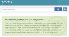 "Brigham Young University, articles page. Instructive:  I like the Articles page, with the prominent text ""why should I also try databases and journals?"""