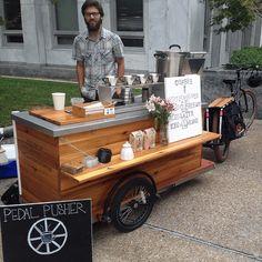 Cody Baldwin owner of Pedal Pusher Coffee Cart. Mobile Coffee Cart, Mobile Coffee Shop, Mobile Food Cart, Food Stall Design, Food Cart Design, Food Truck Design, Coffee Carts, Coffee Truck, Coffee Drinks