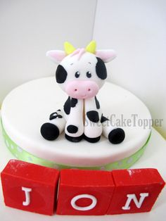 3 Cow Animal Fondant Cake Topper  Handmade by SweetCakeTopper, $22.00