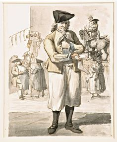 "Paul Sandby's ""Socking Vendor"", a pen and ink watercolour over graphite, circa 1759"