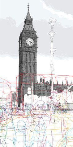 I love the abstract of the people in the foreground versus the detailed Big Ben behind - this explores the relationship between the people and places again. Rupert Van Wyk, 2011 Discuss how time passes, what changes and what stays the same Illustrations, Illustration Art, A Level Art, Landscape Drawings, Urban Sketchers, London Art, Urban Landscape, Light In The Dark, Sculpture Art