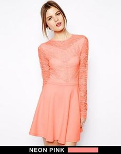 ASOS Scallop Lace Patch Skater Dress