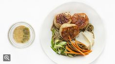 Soba Noodles with Seared Scallops from tasting table - simple recipe with light dressing, looks to be low calorie and easy.