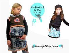 Rocking+Rock  Ein+cooler+Kinderrock+der+Mädchenherzen+höher+schlagen+lässt.  Rocking+Rock+ist+ein+überlappender+Rock+mit+kleinen+Schlitz. Die+vordere+Überlappung+dient+zeitgleich+als+Tasche. Du+kannst+den+Rock+aus+dehnbaren+oder+festen+Stoffen++nähen. Der+Saum+kann+mit+Bündchenware+aber+auch+mit+einer+schicken+Rüsche+gestaltet+werden. Für+den+Bund+am+Bauch+eignet+sich+Bündchenware+für+die+babys+am+besten. Bei+größeren+Kinder+kann+auch+ein+fester+Bund+gewählt+werden.  ACHTUNG:+Bitt...