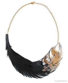 Feather Necklace in Black and Gold Feather by LoveAtFirstBlush