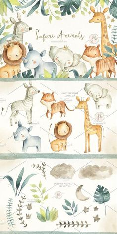 This Safari Animals Watercolor Clipart Set includes 45 items of hand painted watercolor elements, 300 dpi, high-res files ( png files unless stated otherwise, Jungle Theme Birthday, Safari Theme, Safari Nursery, Nursery Art, Baby Wall Art, Baby Art, Cute Illustration, Watercolor Illustration, Safari Animals