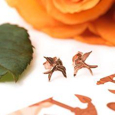 Rose Gold Swallow Tattoo Ear Studs - Pair