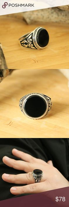 5d539bb69c39 Sterling Silver Men s Rings With Black Onyx Metal Finish  High Polish Metal  Finish  Oxidized
