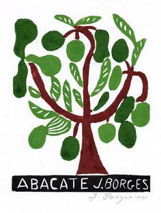 Abacate - José Francisco Borges (Brazil), Woodcut print on paper (7 1/4 x 5 5/8), 2008, 2009, 2011