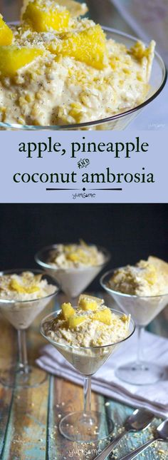 This easy Apple, Pineapple, and Coconut Ambrosia is a deliciously creamy dessert that's great for breakfast too! | yumsome.com
