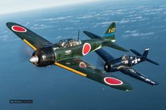 A6M3 Zero and F6F Hellcat.