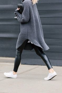 Oversized knits, leather & chucks love