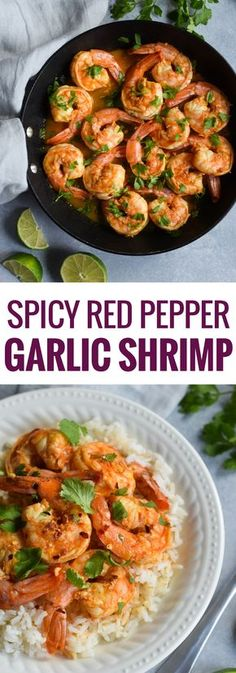 This Spicy Red Pepper Garlic Shrimp is an easy and healthy weeknight meal thats ready in only 18 minutes. Is gluten free paleo and low carb. The post Spicy Red Pepper Garlic Shrimp appeared first on Tasty Recipes. Spicy Shrimp Recipes, Salmon Recipes, Fish Recipes, Seafood Recipes, Low Carb Recipes, Dinner Recipes, Cooking Recipes, Healthy Recipes, Spicy Garlic Shrimp