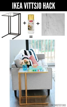 One of the most chic IKEA hacks ever!! Turn the IKEA Vittsjo into a gorgeous gold and marble side table using just spray paint and marble adhesive paper. It's going to glam up your living room for sur