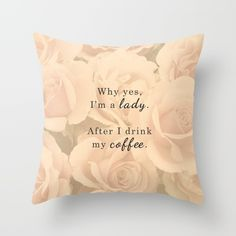 Lady After Coffee Throw Pillow
